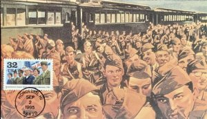 Hank Messark 2981 Veterans Soldiers Returning Home from World War II by Train