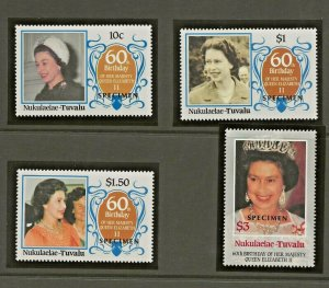 NUKULAELAE-TUVALU 1986 60TH BIRTHDAY QUEEN ELIZABETH,SPECIMEN OVERPRINT SET PERF