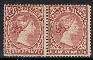 FALKLAND ISLANDS SG11 1891 1d RED-BROWN MTD MINT PAIR
