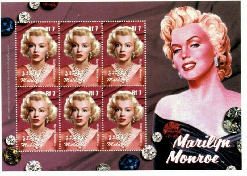 Maldives MNH S/S Marilyn Monroe 6 Stamps