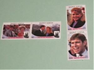 St, Lucia - 839-40, MNH Set in Pairs. Royal Wedding. SCV - $3.50
