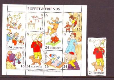 Guernsey Sc 509-0 1993 Rupert Bear stamp &stamp sheet mint N