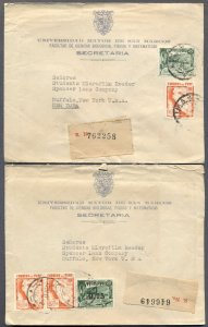 PERU to BUFFALO, NY: Two 1942 Registered Multi-Marking Covers from University