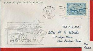 FIRST FLIGHT  HALIFAX, NOVA SCOTIA TO BOSTON MASS, FIRST OIFFICIAL (K366)