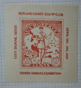 1939 Rutland County VT Stamp Club US Postage sc#643 Philatelic Souvenir Label AD