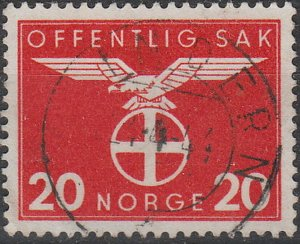 Stamp Norway Official Sc O048 WWII Dienst War Germany Emblem Quisling Used