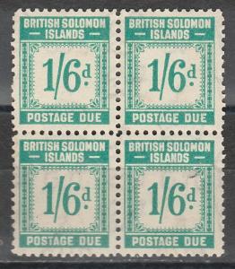 BRITISH SOLOMON ISLANDS 1940 POSTAGE DUE 1/6 BLOCK MNH **