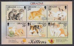 Gibraltar 726 Cats Souvenir Sheet MNH VF