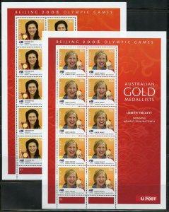 AUSTRALIA 2008 GOLD MEDAL WINNERS set of 14 MINIATURE SHEETS OF 10 EACH  MINT NH