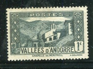 FRENCH ANDORRA; 1932 early Pictorial issue fine Mint hinged 1c. value