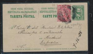 PARAGUAY (P2309B) 2C PSC 1906 UPRATED LION 20C TO MADRID SPAIN