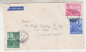 MAURITIUS, 1950 Airmail cover to Singapore, KGVI various to 25c. (10).