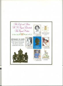 Guinea #1623 Queen Mother Birthday 1v imperf essay m/s of 4, mounted in folder