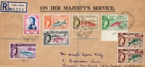 Turks & Caicos 1957 Sc#123/127 Fishes Postal History Registered Cover