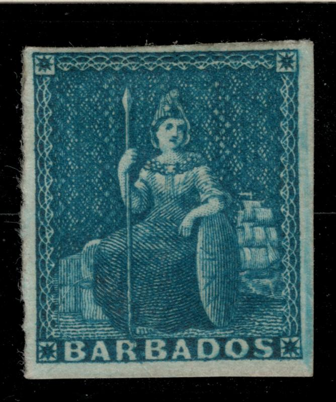 Barbados Stamp Scott #6, Mint Partial Gum - Free U.S. Shipping, Free Worldwid...