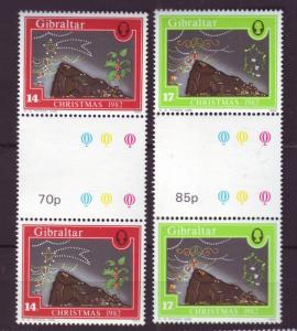 J19601 Jlstamps 1982 gibraltar set mnh #441-2 xmas gutter pair