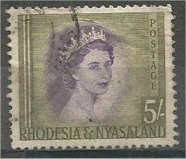 RHODESIA AND NYASALAND, 1954, used 5sh, Queen Elizabeth II, Scott 153
