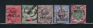 GREAT BRITAIN SCOTT #O39-O43 1902 EDWARD VII  GOVERNMENT PARCELS OVERPRINT- USED