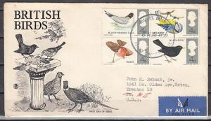 Great Britain, Scott cat. 488-491. British Birds issue. First Day Cover.