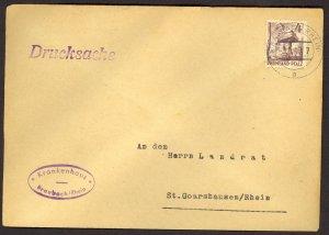 GERMANY RHINE PALATINATE FRENCH ZONE 1949 4pf Sc 6N31 BRAUBACH Printed Matter