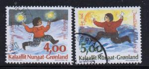 Greenland Sc 301-2 1995 Christmas stamp set used