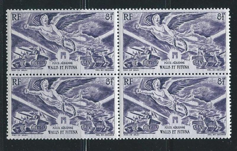 Wallis and Futuna Islands C1 WWII Victory block of 4 MNH