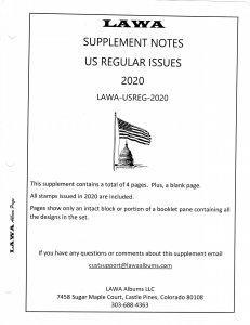 2020 US Regular Issue Supplement - LAWA Album Pages