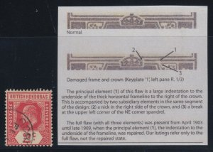 British Honduras, SG 96a, used Damaged Frame & Crown - Spaven variety