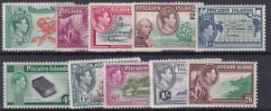 PITCAIRN ISLANDS  1940  S G 1 - 8  SET OF 10  MH CAT £75 NO2