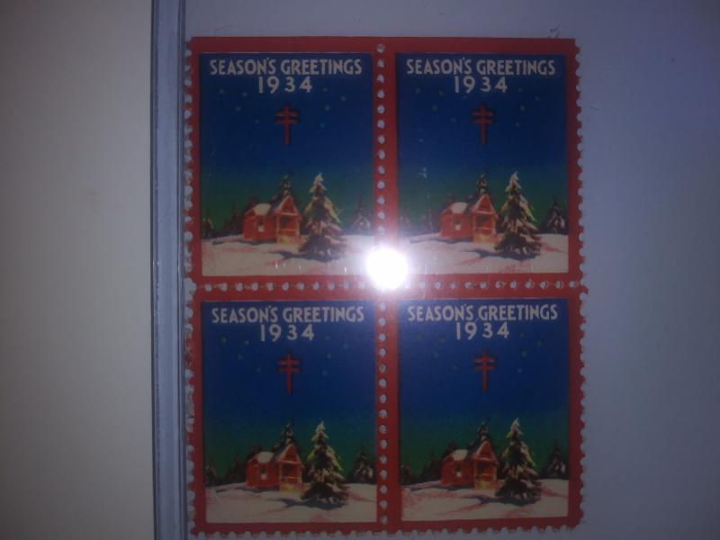 1934 CHRISTMAS SEALS BLOCK OF 4 NEVER HINGED GEMS !! GREAT FIND !!