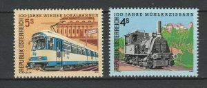 Austria 1988 Trains Locomotives / Railroads 2 MNH stamps