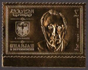 Sharjah Mi #544A  mnh - 1969 Konrad Adenauer - gold foil paper - perf