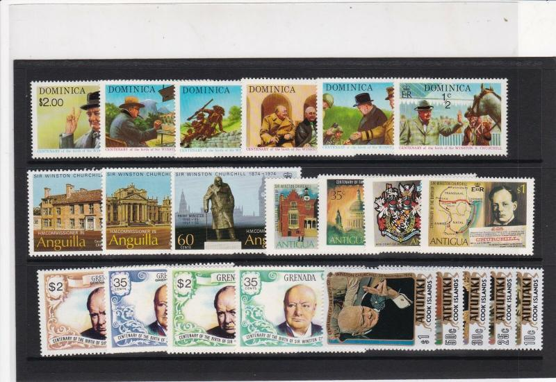 Sir Winston Churchill Mint Never Hinged Stamps - some Grenada Ref 27083
