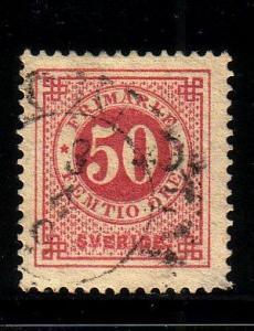 Sweden Sc 48 50 ore rose stamp used post horn on back