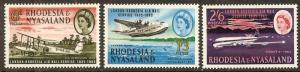 1962 Rhodesia & Nyasaland Scott 180-182 Rhodesia/London airmail Svce MNH