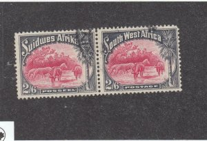 SOUTH WEST AFRICA # 117 VF-USED PAIR 2/6d ZEBRAS AND BRINDLED GNUS CV $28