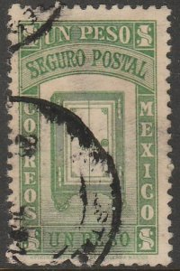 MEXICO G9, $1PESO INSURED LETTER. USED. F-VF (1129)