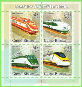 Guinea-Bissau MNH S/S High Velocity Trains 2006 4 Stamps