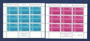 YUGOSLAVIA - Scott 1052a & 1053b  - FVF MNH S/S - EUROPA  - 1971