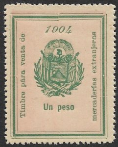 EL SALVADOR 1904 1P ARMS Sales Tax on Imported Merchanise Revenue Ross 149 MNGAI