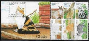 Benin 1094-1100 Cats Mint NH