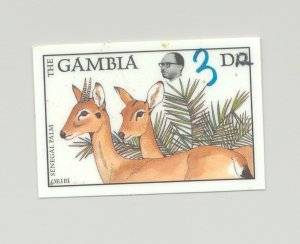 Gambia #725 Animals 1v Imperf Chromalin Proof