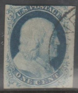 U.S. Scott #9 Franklin Stamp - Used Single