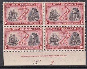 NEW ZEALAND 1940 Centenary 1d Captain Cook plate block MNH CP cat NZ$40.....K546
