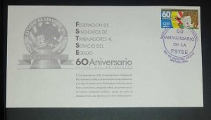 A) 1998, MEXICO, FEDERATION OF STATE WORKERS UNIONS, FDC, POSTMARK OF THE 60TH A