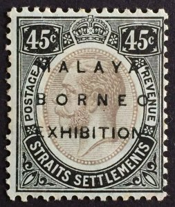 Malaya-Borneo Exhibition opt Straits Settlements KGV 45c Mint Raise Stop SG#246c