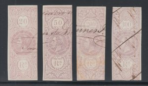 Portugal, Gerais Barata 2-5 used 1869 lilac King Luiz Fiscals, almost VF
