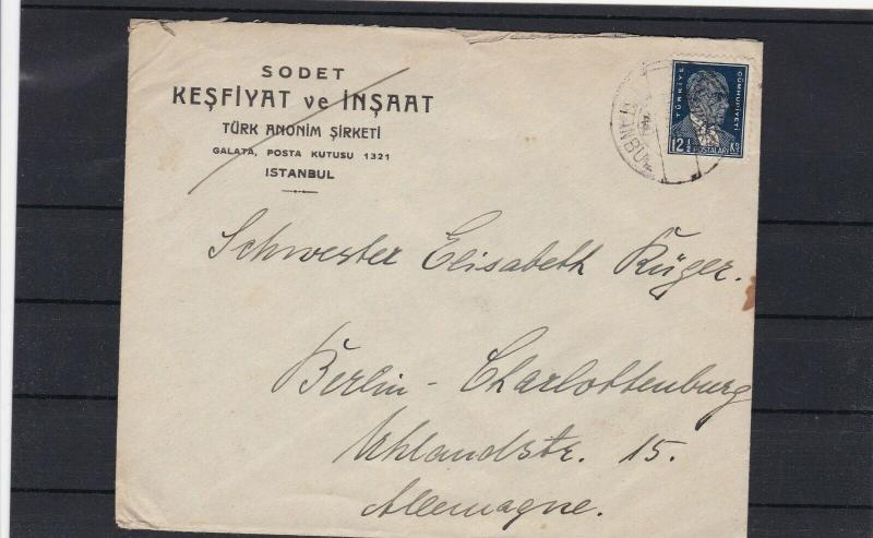 1930s COVER ISTANBUL TURKEY TO BERLIN GERMANY