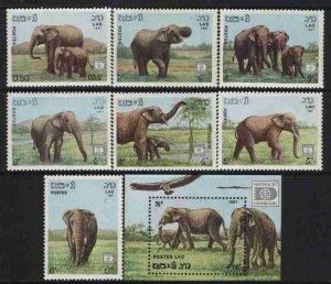 Laos MNH Set + S/S Sc 805-12 Elephants