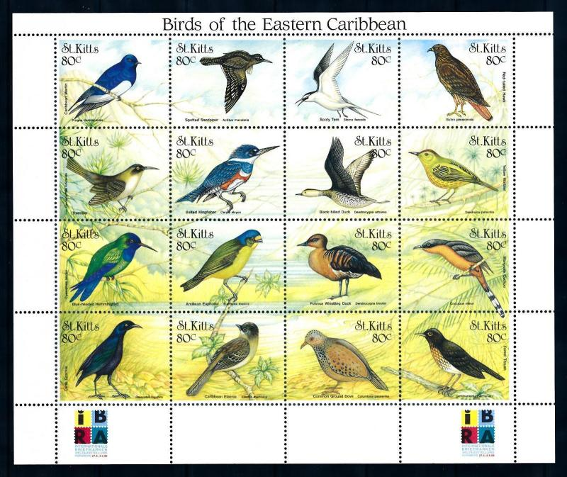 [94953] St. Kitts 1999 Birds Vögel Oiseaux Duck Dove Kingfisher Sheet MNH
